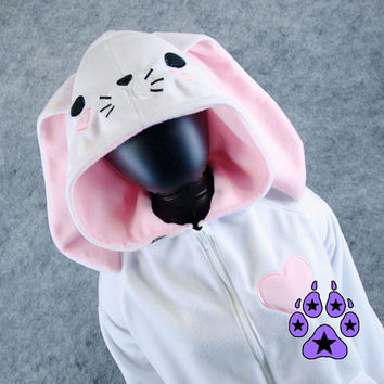 Pawstar BUNNY LOVES YOU Hoodie You Pick Color and Size jacket kawaii valentines heart animal face coat cosplay furry Easter rabbit 6195
