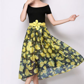 Chiffon Floral Belted A-Line Pleated Midi Skirt
