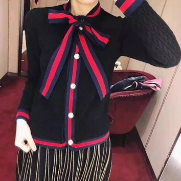 """Gucci"" Women Fashion Multicolor Stripe Bow V-Neck Long Sleeve Cardigan Knitwear Sweater Tops"