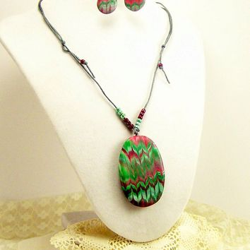 Unique OOAK Pendant and Earrings Set, Clay Jewelry Set, Fun Jewelry, Affordable Handmade Polymer Clay Jewelry