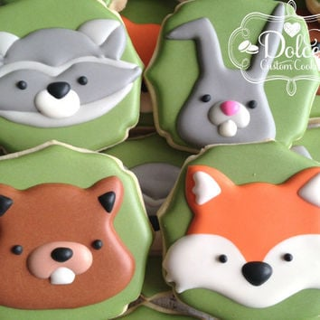 Woodland Animal Fox Raccoon Rabbit Chipmunk Baby Shower Birthday Cookies