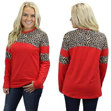 Long Sleeve Leopard Top with Stripe
