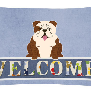 English Bulldog Brindle White Welcome Canvas Fabric Decorative Pillow BB5702PW1216