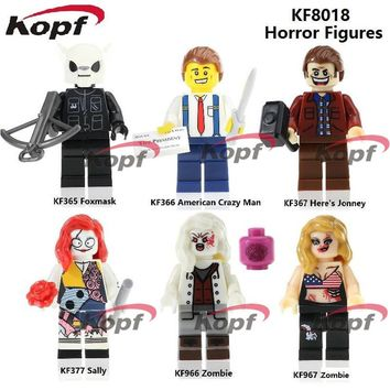 Building Blocks KF8018 Horror Figures American Crazy Man Foxmask Here's Jonney Zombie Sally Scary Mask Bricks Toys for children