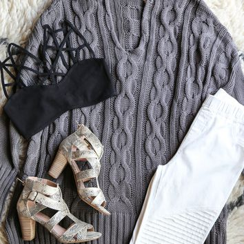 Cable Knit Oversized Sweater, Grey
