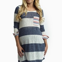 Navy Blue Striped Accent Knit 3/4 Sleeve Maternity Top
