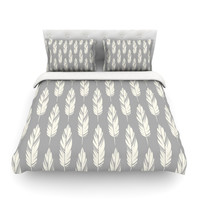"Amanda Lane ""Feathers Gray Cream"" Grey Pattern Cotton Duvet Cover"