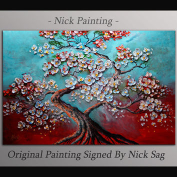 "Impresionist Modern Wall art Tree painting on canvas Thick Texture Oil and Acrylic Impasto - Bonsai Tree - By Nick Sag 36"" x 24"""