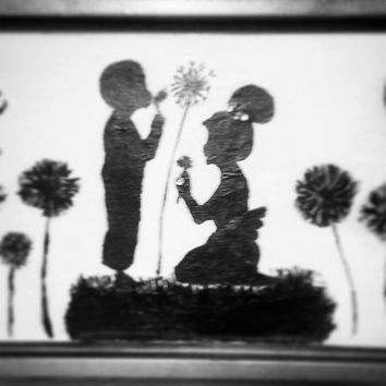 Dream, Imagine, Believe dandelion Boy & Girl Sihoutte on Canvas