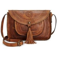 Patricia Nash Distressed Vintage Beaumont Flap Crossbody - Brown
