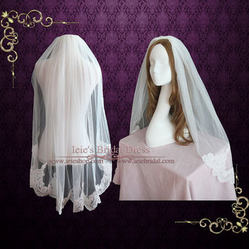 Fingertip Veil with French Alencon Lace at the End   Short Wedding Veil   Lace Wedding Veil   Lace Veil   French Lace Veil   VG1066