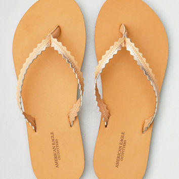 AEO Wavy Leather Flip Flop, Rose Gold