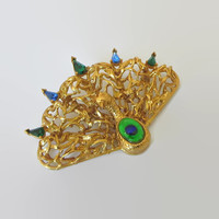 Vintage Peacock Brooch, Dalsheim, Designer Signed, Peacock Eye Foil Glass Cabochon, Rhinestones, Bold Stylized Statement Piece