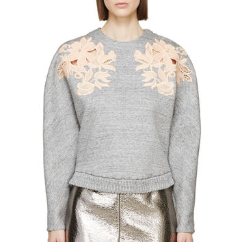 3.1 Phillip Lim Grey Lace Slub Sweatshirt