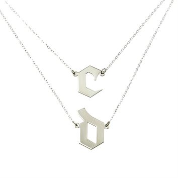 Double chain Initials Necklace
