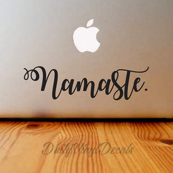 Namaste Vinyl Decal - Macbook Decal - Laptop Sticker *Choose Size & Color* Namaste Vinyl Car Decal - Vinyl Skins Lettering Decal