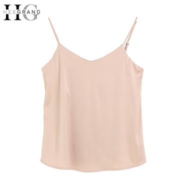 HEE GRAND  Silk Halter Top Women Camisole 2017 Summer Style Sexy Sleeveless Vest Solid Crop Top Camis Roupas Femininas  WBS249