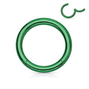 BodyJ4You Segment Ring Earring Lip Nose Septum Hinged Seamless Stainless Steel Green 16G Body Jewelry