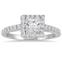 1.00 Carat Princess Cut Diamond Halo Engagement Ring in 14K White Gold