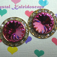Passionate Pink ShowStoppers - Crystal Post Earrings handmade with Swarovski Elements, 20mm Studs