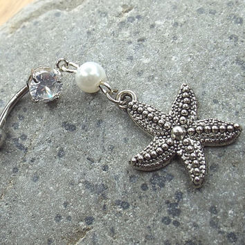 Starfish Belly Button Ring 14 gauge Surgical Steel Navel Ring Belly Bar