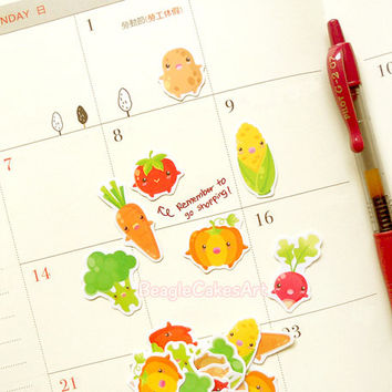 Vegetable Stickers. Vegetarian Sticker. Sticker for Planner. Planner Sticker. Erin Condren Sticker. Shopping Sticker. Kikki K. ECLP. Veggie.