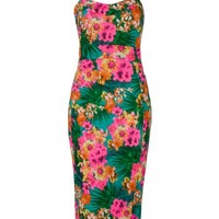 Green and Pink Floral Print Strappy Midi Dress | Dresses | Desire