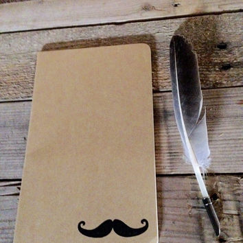 Mustache hand stamped journal
