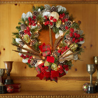"Pre-Lit Highland Fling 28"" Christmas Wreath - Neiman Marcus"