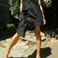 "Bridesmaid  Black Dress ""Origami"" OOAK / Cocktail Dress"