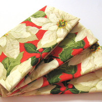 Cloth Napkins - Set of 4 - Christmas - Off White, Red, Green - Everyday, Dinner, Table