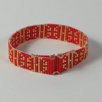 Japanese Good Luck Bead Loom Bracelet - Red Gold - Asian Style - Beadweaving - Boho Chic - Hippie Jewelry - Copper Clasp - Artisanal - China