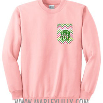 Monogrammed Pocket Crewneck Sweatshirt | Marley Lilly