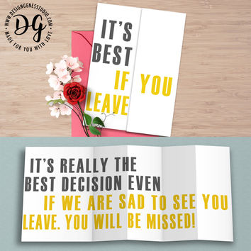"""Funny maternity / retirement card """"it's best if you leave"""" hidden message card"""