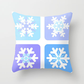 Winter snowflakes Throw Pillow by cycreation