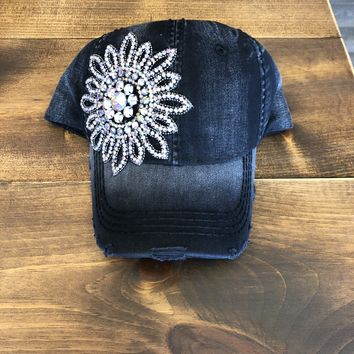 Bling Baseball Hat Black