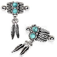 Turquoise & Feather Cartilage Cuff Earring
