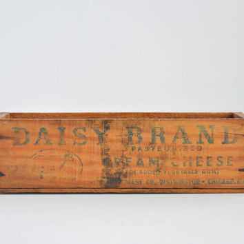 Vintage Cream Cheese Crate - Small Wooden Daisy Brand Box