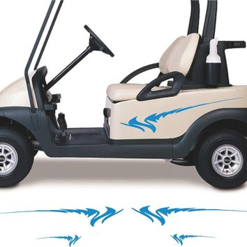 BLACK Golf Cart Go Cart Stickers Graphics Decals Tribal Flames Stripes GC67
