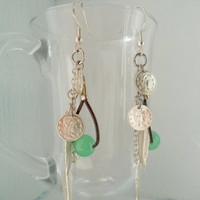 Women's Earrings// Silver Feathers // Green Beads // Coins // Leather //  Sterling Silver Earrings // Boho // gifts for women