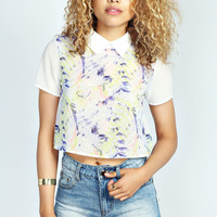 Jess Tropical Print Collared Shell Top