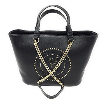 Versace EE1VRBBQ7 Black Tote Bag W/ chain strap for Women