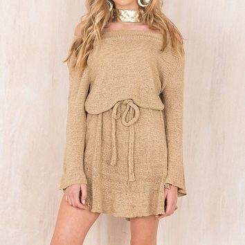 2017 Fashion Women Casual Loose Autumn Knitted Sweater Dress Off Shoulder Long Flare Sleeve Solid Drawstring Mini Dress Vestidos