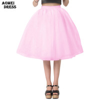 New Puff Women Chiffon Tulle Skirt White faldas High waist Midi Knee Length Chiffon plus size Grunge Jupe Female Tutu Skirts