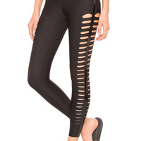 ultracor Sprinter Silk Slash Legging in Nero & Patent Nero