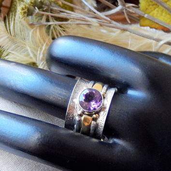 Artisan crafted Sterling Silver 18K Gold Vermeil Amethyst Band Ring Size 9