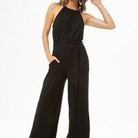 Jersey Knit High-Neck Jumpsuit