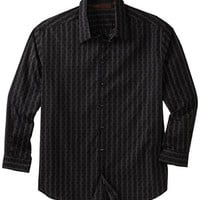 Perry Ellis Men's Big-Tall Long Sleeve Fancy Dotted Jacquard Shirt, Black, 3X