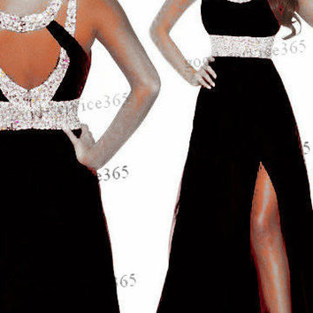 Black Long Chiffon Bridesmaid Formal Gown Ball Party Cocktail Evening Prom Dress