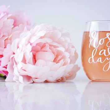Rosé All Day Stemless Wine Glass - Rosé All Day - Stemless Wine Glass - Bridesmaid Gift - Custom Wine Glass  - Bachelorette Party Gift- Rosé